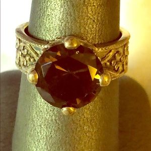 Gorgeous Vintage Sterling & Smokey Quartz Ring